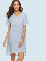 Batwing Sleeve Stepped Hem Mixed Striped Smock Dress