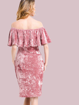 Crushed Velvet Ruffles Off Shoulder Midi Dress