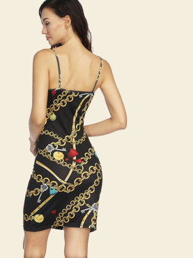 Twist Front Backless Plunge Bodycon Mini Dress In Chain Print