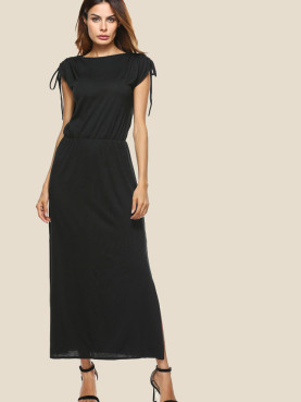Drawstring Shoulder Slash Neck Slit Side Maxi Dress In Black