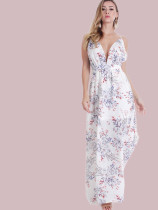 OneBling Printed Maxi Dress with Backless and Deep Plunge Neck
