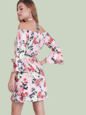 Floral Print Fluted Sleeve Off Shoulder Mini Dress with Belt