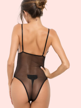 Lace Insert Scallop Trim Sheer Mesh Bodysuit