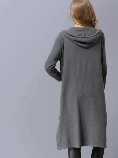 OneBling Dual Pockets Slit Side Hooded Knit Cardigan