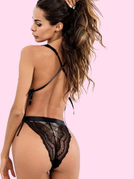 Cross Back Deep Plunge Lace Bodysuit with Ties Detail