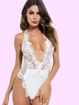 Scallop Trim Strappy Back Deep Plunge Mesh and Lace Bodysuit