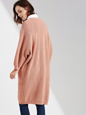 Ribbed Knit Batwing Sleeve Open Front Cardigan