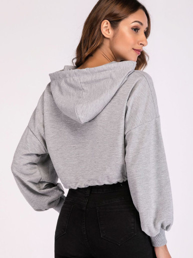 Letter Graphic Drawstring Hem Drop Shoulder Cropped Hoodies