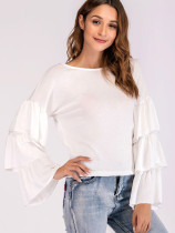 Tiered Ruffles Sleeve Tee In White