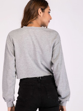 Raw Hem Cropped Sweatshirt with Graphic