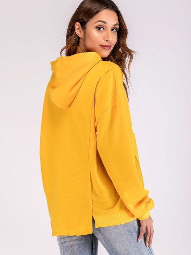 Slogan Graphic Asymmetric Hem Hoodies with Drop Shoulder