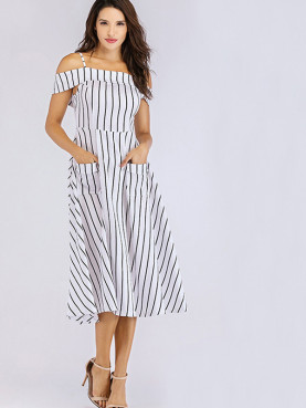 Patch Pockets Open Shoulder Fit and Flare Dress In Striped Print