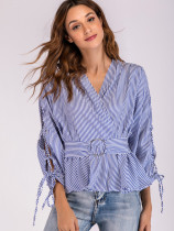 OneBling O-Ring Detail Wrap Front Split Tie Sleeve Striped Blouses
