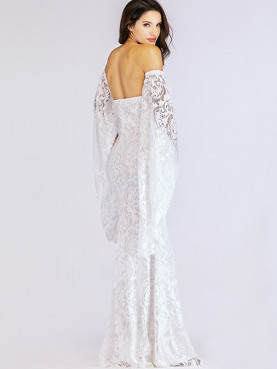 Exaggerated Bell Sleeve Fishtail Maxi Bandeau Dress In Jacquard Lace
