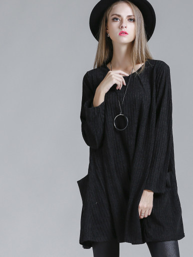 OneBling Crew Neck Long Sleeve Jumper Dress with Patch Pockets