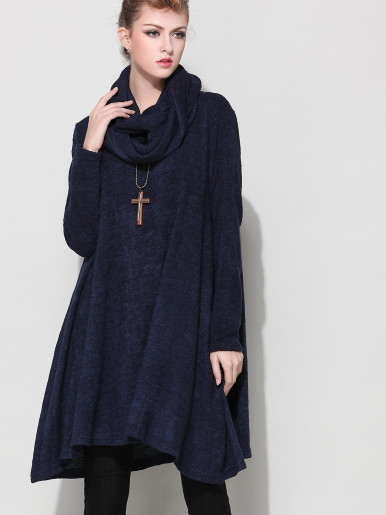 OneBling Boat Neck Loose Jumper Dress with Scarf