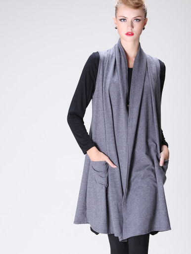 OneBling Open Front Shawl Collar Sleeveless Longline Vest with Pockets