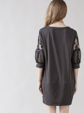 Crew Neck Lace Ballon Sleeve Shift Dress