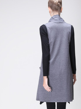 Open Front Shawl Collar Sleeveless Longline Vest with Pockets