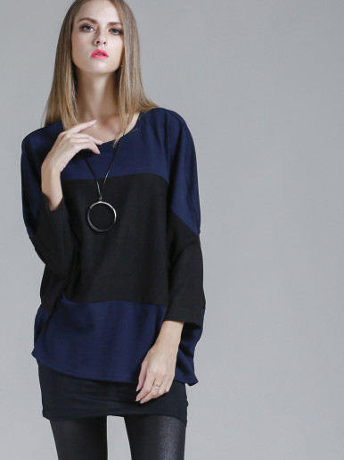 OneBling Batwing Sleeve Colour Block Knit Jumper