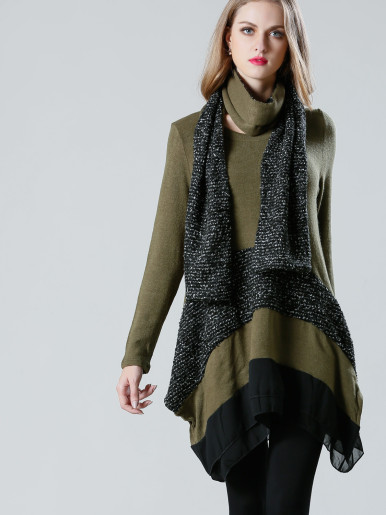OneBling Double Layer Hem Contrast Knit Jumper with Scarf