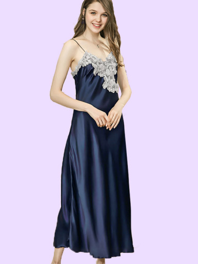 Jacquard Lace Contrast Maxi Cami Nightdress with Slit Side