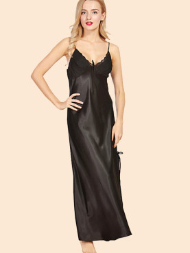 Plus Size Pleated Chest Lace Trim Split Side Satin Maxi Cami Nightdress