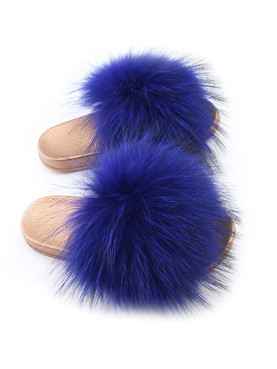 Gold Sole Fluffy Faux Fur Sliders
