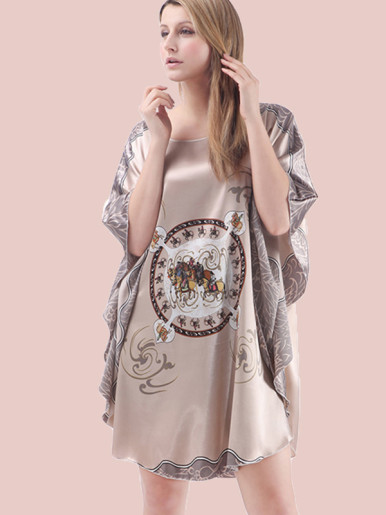 Curved Hem Floral Print Satin Cape Nightdress