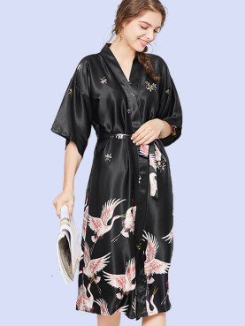 Plus Size Crane Print Satin Robes