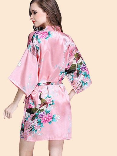 Peacock and Floral Print Satin Robes