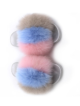 Sliver Sole Fluffy Three Tone Faux Fur Flat Slippers