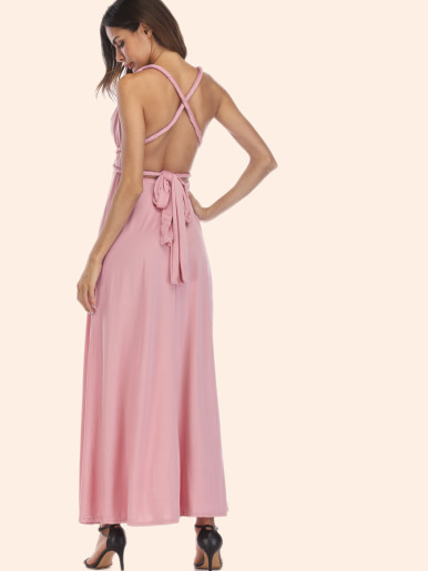 Maxi Party Dress Multiway Sleeveless Convertible Infinity Robe Wrap Dress
