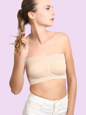 Seamless Bandeau Bra Crop Tube Top with Padded