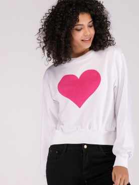 Pink Heart Graphic Sweatshirt