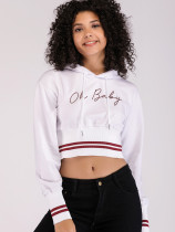OneBling Graphic Print Cropped Hoodie with Tipping Detail