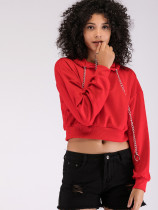 OneBling Dropped Shoulder Cropped Hoodies with Chain Detail