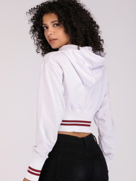 Graphic Print Cropped Hoodie with Tipping Detail