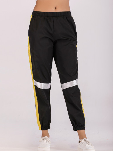 Tapered Pants with Taped Detail