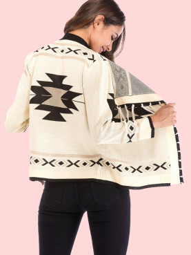 Fringe Trim Geometric Knit Cardigan