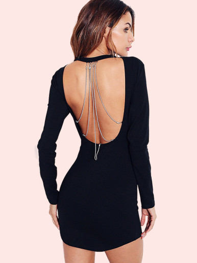 OneBling Open Back Chain Detail Curved Hem Long Sleeve Bodycon Dress