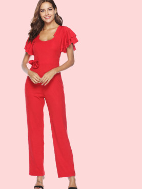 Tiered Sleeve Bowknot Detail Wide Leg Jumpsuit