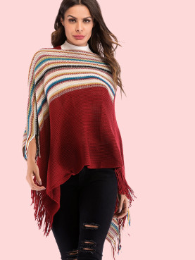 Fringe Trim High Neck Striped Knit Poncho Top