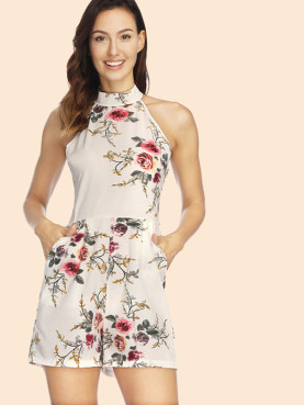 Floral Printed Sleeveless Halter Playsuits with Pockets