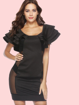 Ruffles Tiered Sleeve Fishnet Side Bodycon Mini Dress