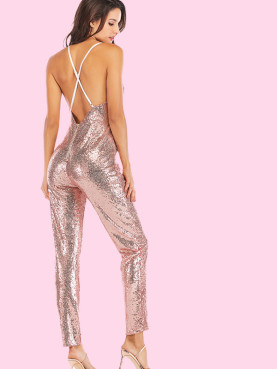 Cross Back Plunge Neck Sequins Jumpsuit with Peg Leg
