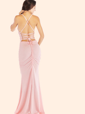 Strappy Back Ruched Detail Cami Strap Fishtail Maxi Dress