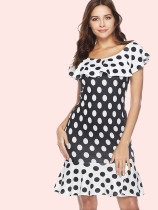 White Ruffles Hem and Collar Polka Dot Mini Dress