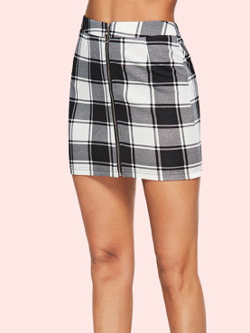 Check Print Zip-Front Mini Pencil Skirt
