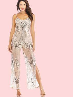 Double Straps Backless Sequins Jumpsuit with Split Wide Leg
